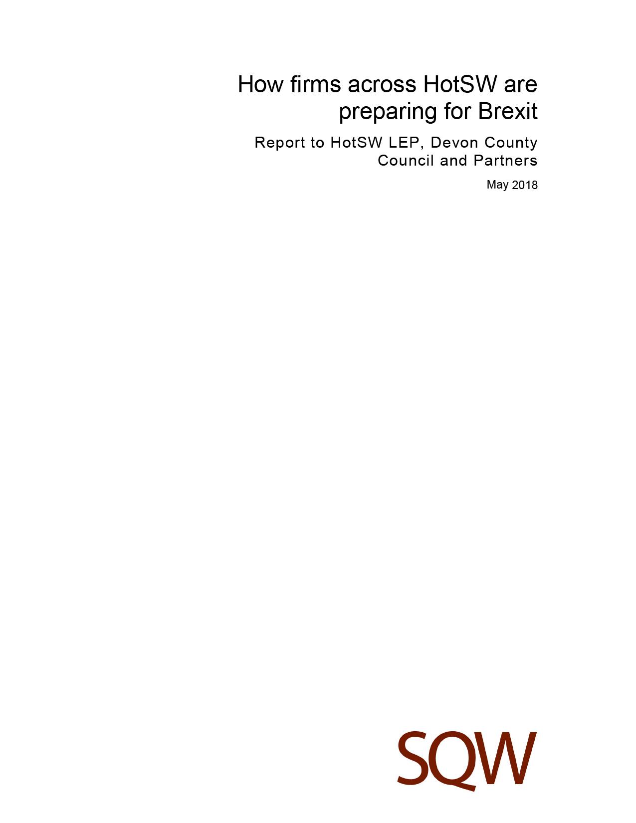 Microsoft Word - HotSW Brexit Report - DRAFT - 04.05.18