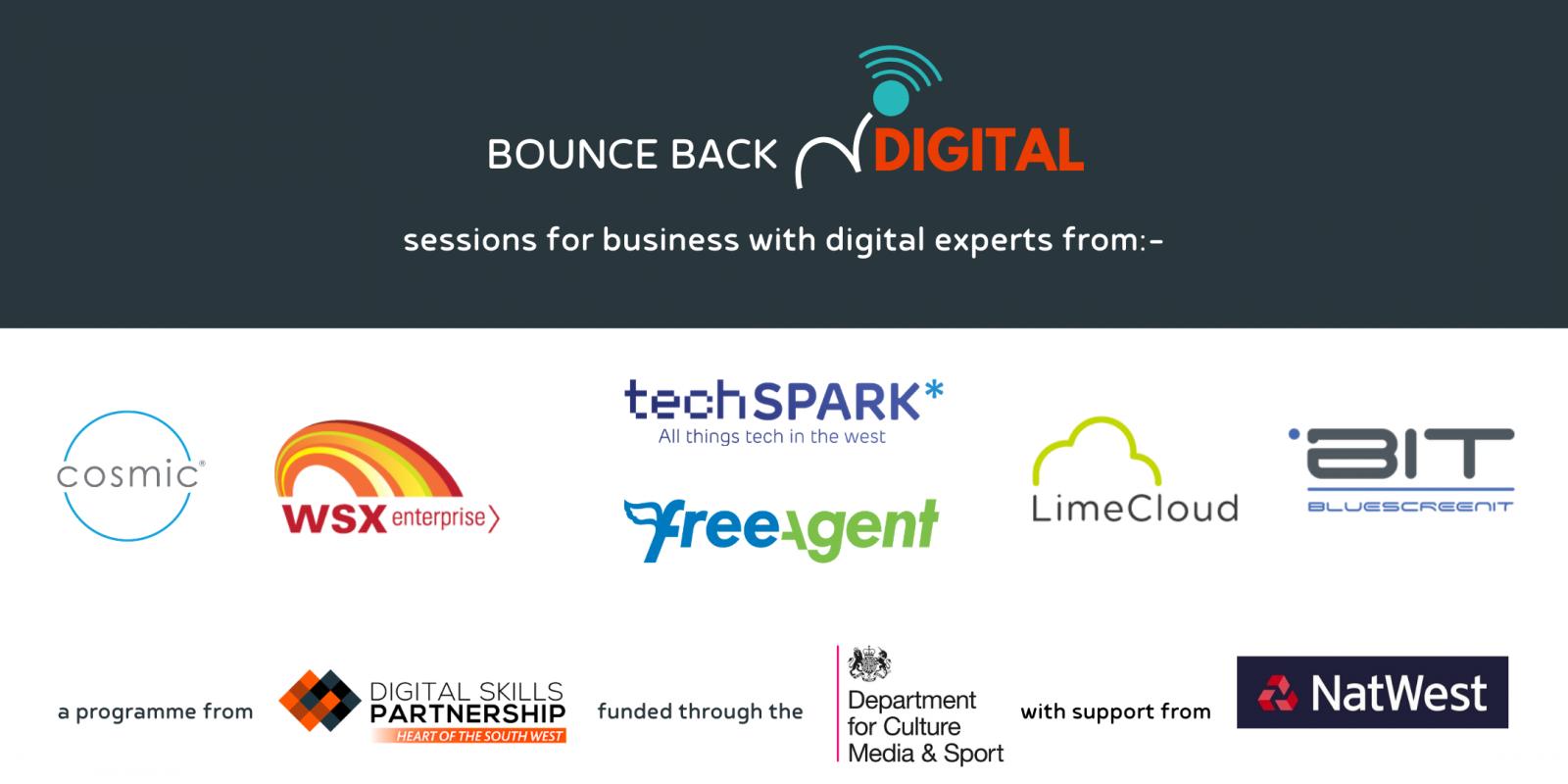 Bounce Back Digital logo and partner logos