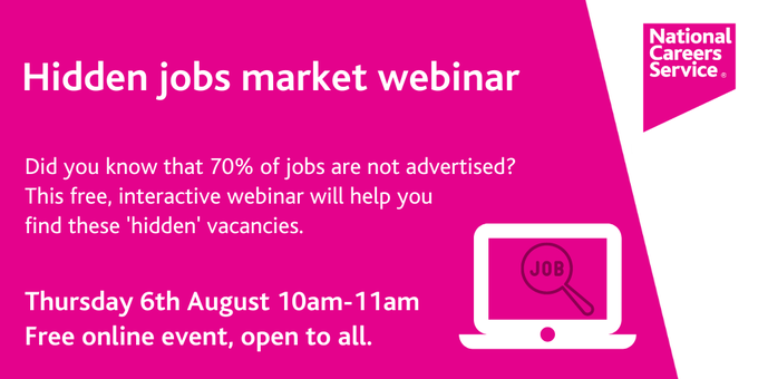 White text on a pink background with an image of a computer. The image shows details of a webinar which are repeated on this webpage