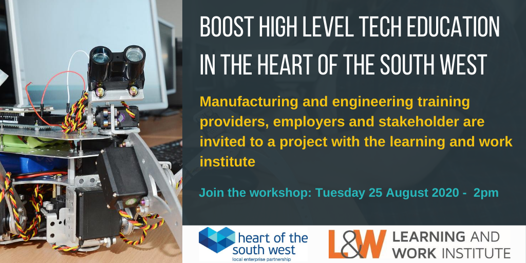 Boost higher level tech in the Heart of the South West information with robot image