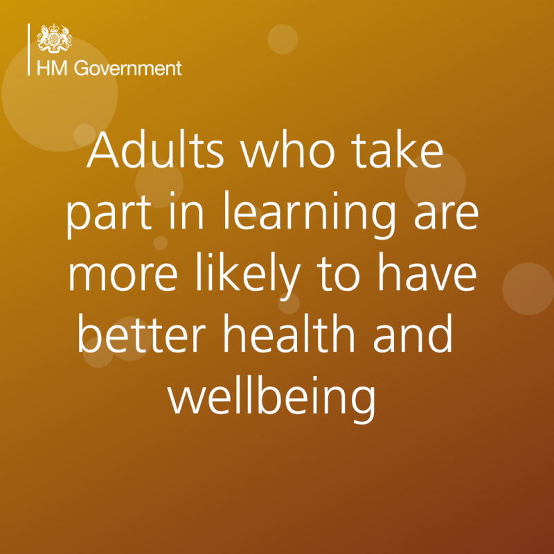 Adults who take part in learning are more likely to have better health and wellbeing - text on coloured background